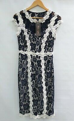 Phase Eight Lace Dress Women's Blue & White Midi Dress Size UK10 New With Tags • 15£