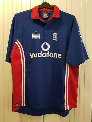 Vintage England 2003 ODI Admiral Blue Cricket Shirt Jersey Top - Size Large • 13.99£
