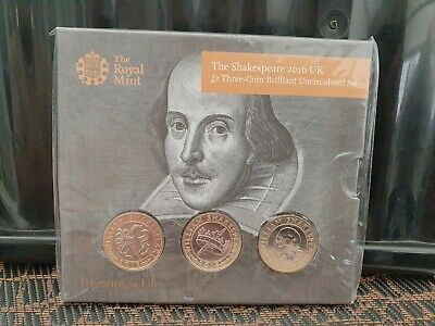 Sealed Royal Mint 2016 Shakespeare's £2 Coin, Presentation Pack,Three Coins,BU • 29£