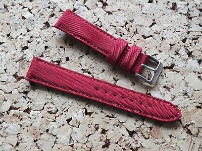 Canvas On Leather Watch Strap 20mm // Red By Geckota • 5.26£
