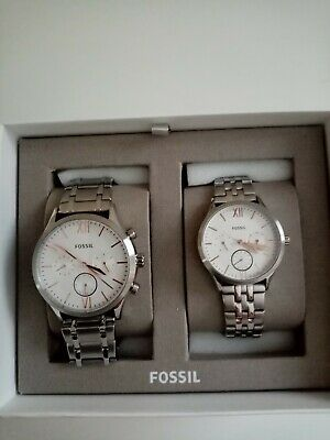 Fossil His And Her Fenmore Multifunction Stainless Steel Watch BQ2468SET • 26£