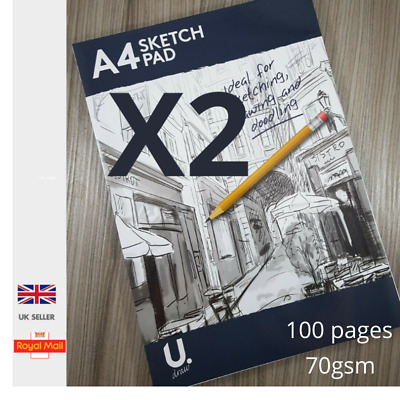 £4.45 • Buy 2No X A4 Sketch Pad Book Flip Up Drawing Art White Paper Back Card Cover