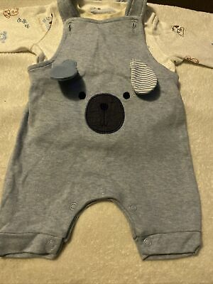 Baby Boys Nutmeg 2 Piece Dungarees And Long Top With Matching Vest  • 1.20£