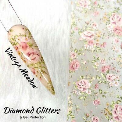 Nail Transfer Foil 1m Floral Rose Full Coverage Nail Art Vintage Meadow • 1.99£