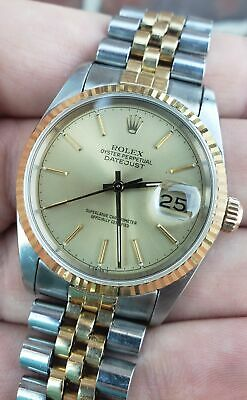 $ CDN5087.59 • Buy Rolex DateJust 36mm 16233 18K Two-Tone Gold Stainless Champagne Jubilee Watch