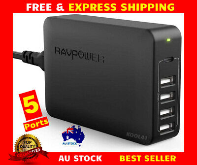 AU57.99 • Buy RAVPower 60W 5-Port USB C PD Port Wall Charger Charging Station AC Power Adapter