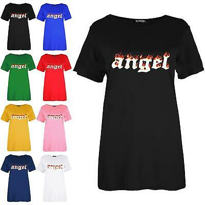 Womens Ladies Baggy Short Sleeve Fire Angel Printed Oversized Casual T-Shirt Top • 2.99£
