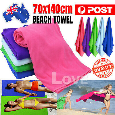 AU6.85 • Buy 70x140cm Microfiber Bath Beach Towel Gym Sport Footy Travel Yoga Swimming Drying