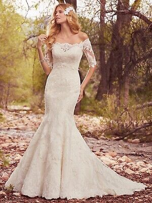 £300 • Buy Maggie Sottero Wedding Dress Betsy + Lace Top - Size UK 14 (discontinued)