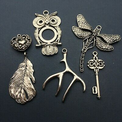 X6 Lovely Large Silver Charm Pendants Owl Feather Key Heart Antler Dragonfly • 3£