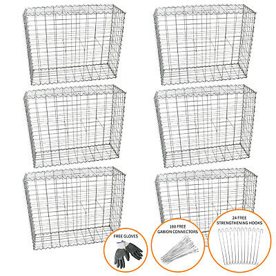 Gabion Baskets Outdoor Cages Stone Wire Mesh Planter / 100 X 95 X 30cm / 6 Pack • 191.99£