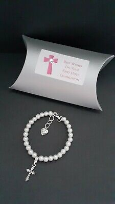 First Holy Communion / Confirmation  Bracelet + Cross Charm + Gift Box • 5£