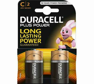 Pack Of 2 Duracell Plus Power C Battery. Alkaline Cell C 2 MN1400 LR14 • 3.95£