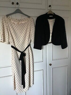 Jacques Vert Size 22 Ivory/Black Dress And Jacket Wedding/Occasion • 75£