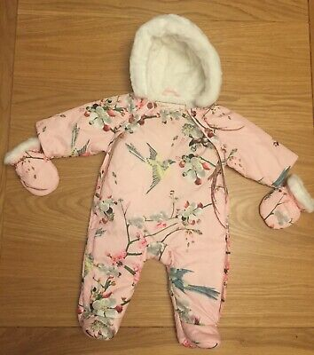 TED BAKER Baby Girls NEW 0-3 Months Snowsuit All In One Pramsuit Mittens Pink  • 10£