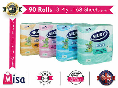 £17.99 • Buy 45 90 Nicky Elite 3Ply Toilet Rolls 3 Ply Bathroom Tissue Quilted Luxury