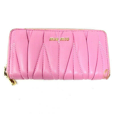 MIU MIU By PRADA All Leather Continental Purse Wallet Cardholder In Pink • 65£