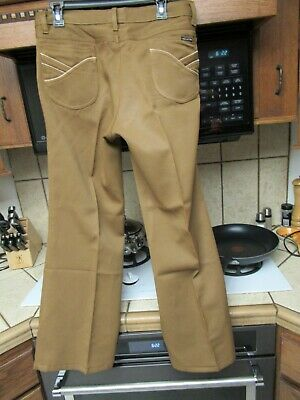 $65 • Buy 1970's Vintage Men's Flared Jeans Pants Western Polyester Pleated 34 X 29