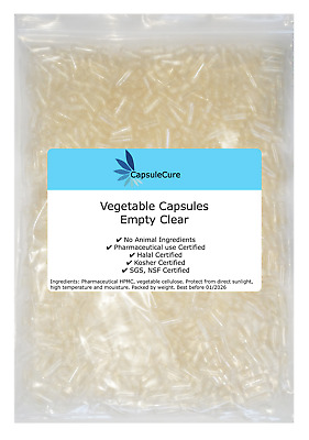 AU12.95 • Buy 200 X Size 0 Empty Veggie Caps Vegetable Capsules Vegetarian Vegan Pill Clear