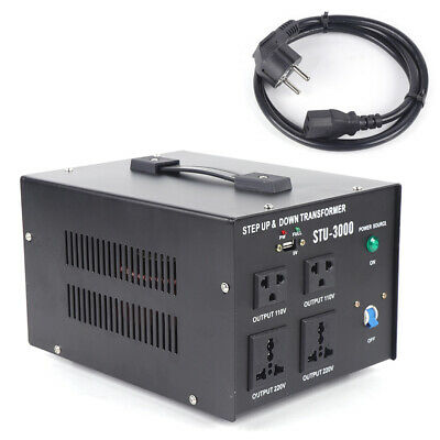 New Step Up/Down Voltage Converter Transformer USB Port 110V To 220V 3000W 3KW • 60.05£