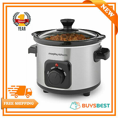 £21.49 • Buy Morphy Richards Ceramic Slow Cooker, 1.5 L, Brushed Stainless Steel - 460300