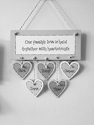 £9.99 • Buy Personalised Family Friend Gift Plaque Wooden Hanging Heart Sign Silver Grey