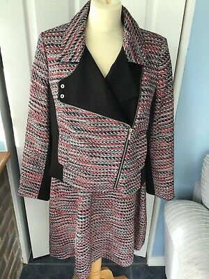 Tu Woman Red/Black Shift Dress And Matching Biker Jacket Size 16 BNWT • 14.99£