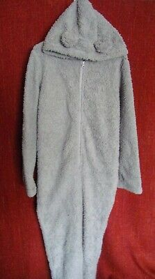 DUNELM Women's MEDIUM Fleece HOODED TEDDY BEAR ALL-IN-ONE Lounge Wear GREY Vgc • 7.99£