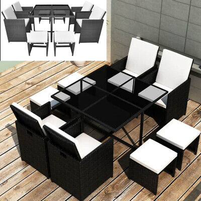 8 Seater Rattan Garden Furniture Sofa Dining Table Set Outdoor Conservatory Chic • 975.24£