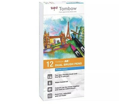 TOMBOW ABT Dual Brush Pen Set - Set Of 12 Blendable Primary Colours  • 25.99£