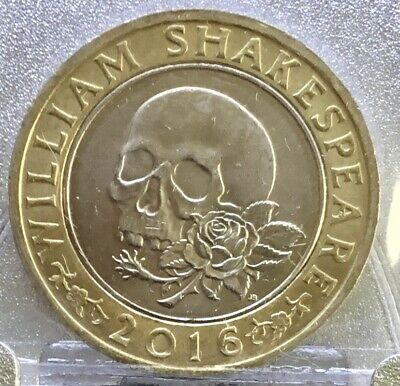 2016. £2. Coin. Shakespeare Skull And Rose. 2 Pounds. • 2£