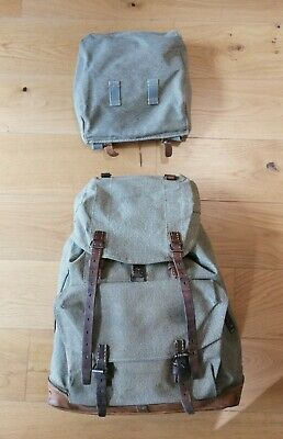 Vintage Swiss Army 'Salt & Pepper' Canvas And Leather Rucksack • 120£