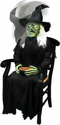 $ CDN1093.08 • Buy Halloween Animatronic 4.5 Ft Sitting Scare Witch Animated Prop Candy Greeter