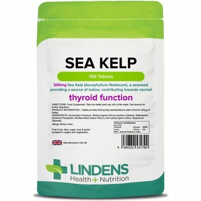 View Details Lindens Sea Kelp 500mg 100 Tablets Thyroid/Hormone Support • 6.65£