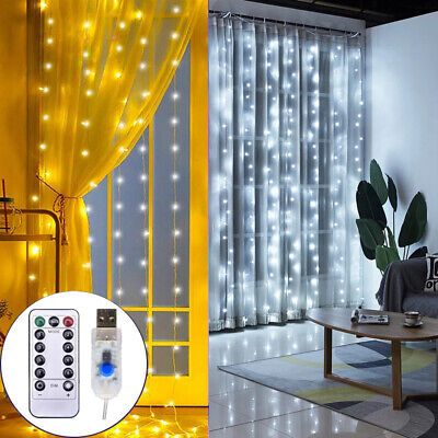 3M 300LED Curtain Fairy String Lights USB Hanging Wall Lights Party With Remote • 9.98£