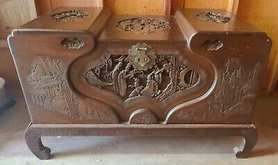 Antique Chinese Carved Camphor Wood Chest Luggage Trunk Table • 786.89£