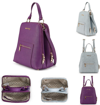 AU39.99 • Buy Backpack Ladies Handbag Genuine Leather THAT'S VINTAGE BRAND BLUE-GREY PURPLE