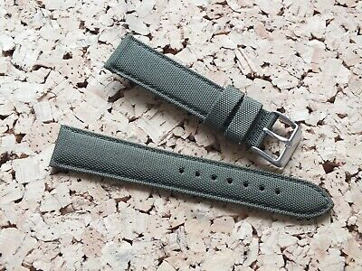 Canvas On Leather Watch Strap 20mm // Green By Geckota • 3.99£