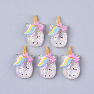 Unicorn Glitter Embellishments Set Of 5, Resin Flat Back Cabochon, Animal Crafts • 3.15£