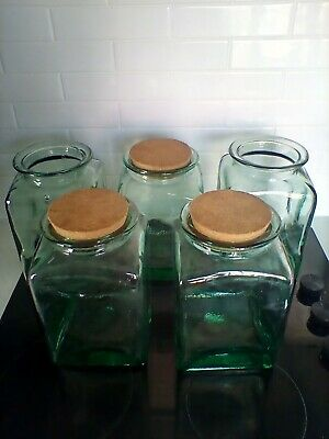 Vintage Green Glass Jars With Cork Lids Very Heavy • 34.99£