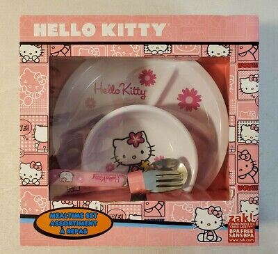 Hello Kitty Meal Time Set - Plate Bowl Spoon & Fork By Zak! - NEW - VERY RARE!! • 11.10£