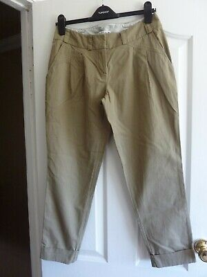 Women's Select Olive/khaki Cropped Trousers Size 10 With Belt Loops • 3£