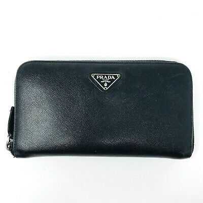 PRADA Saffiano Leather Continental Wallet Purse Cardholder In Black - Italy • 195£