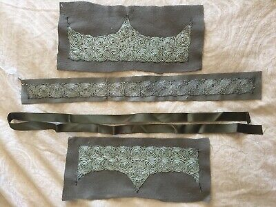 Antique 1920s Hand Made Ribbon Work Cuffs & Collar Olive Green Trim For Vtg Coat • 63.61£