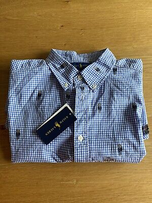 Stunning Genuine Ralph Lauren Shirt Bnwt Age 16 Checked Teddy Bear Design Rrp£79 • 40£