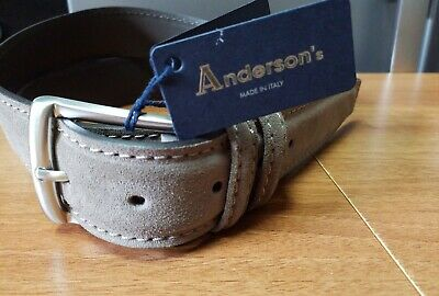 Anderson's ITALIAN SUEDE LEATHER BELT STONE BEIGE Handmade In Italy New 95cm • 24.99£