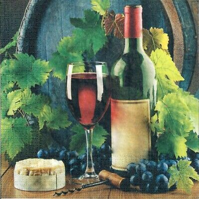 £1.40 • Buy 4single Paper Decoupage Napkins. Wine And Cheese French Red Wine Grape Leaf 138