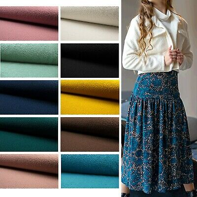 Boucle Luxury Knitted Curled Soft Sheep Wool Feel Jersey Fabric Material • 11.99£