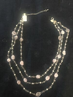 $ CDN8.01 • Buy NWT Lia Sophia Pink Cracked Glass Beads Multistrand Necklace Silver Tone