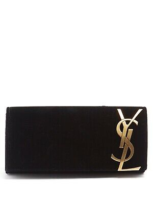 AU420 • Buy $2000 Saint Laurent Black Velvet Smoking Evening Clutch Bag Purse Gold Logo Ysl